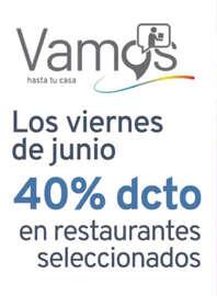 40% off en restaurantes seleccionados