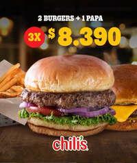 2 burgers +1 papa