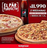 El par perfecto Dos pizza medianas + refresco